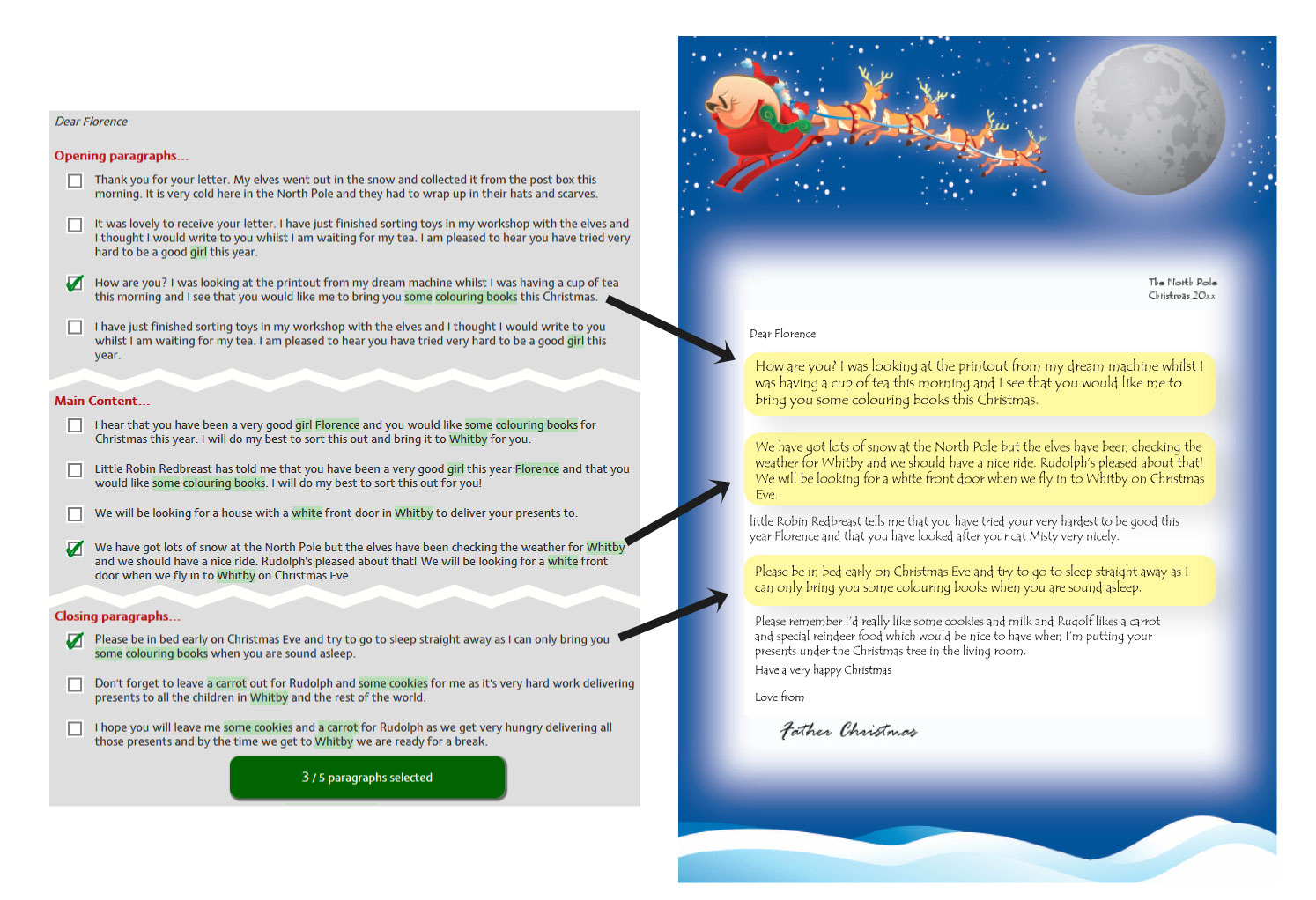 How to create your letter from Santa/Father Christmas