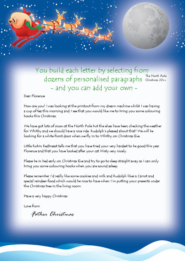 Personalised letters from santa with free magical reindeer dust sample reply letter from santafather christmas click to enlarge spiritdancerdesigns