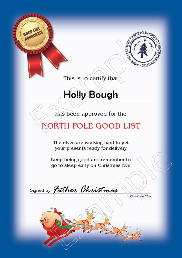 Santas Good List Medal And Certificate