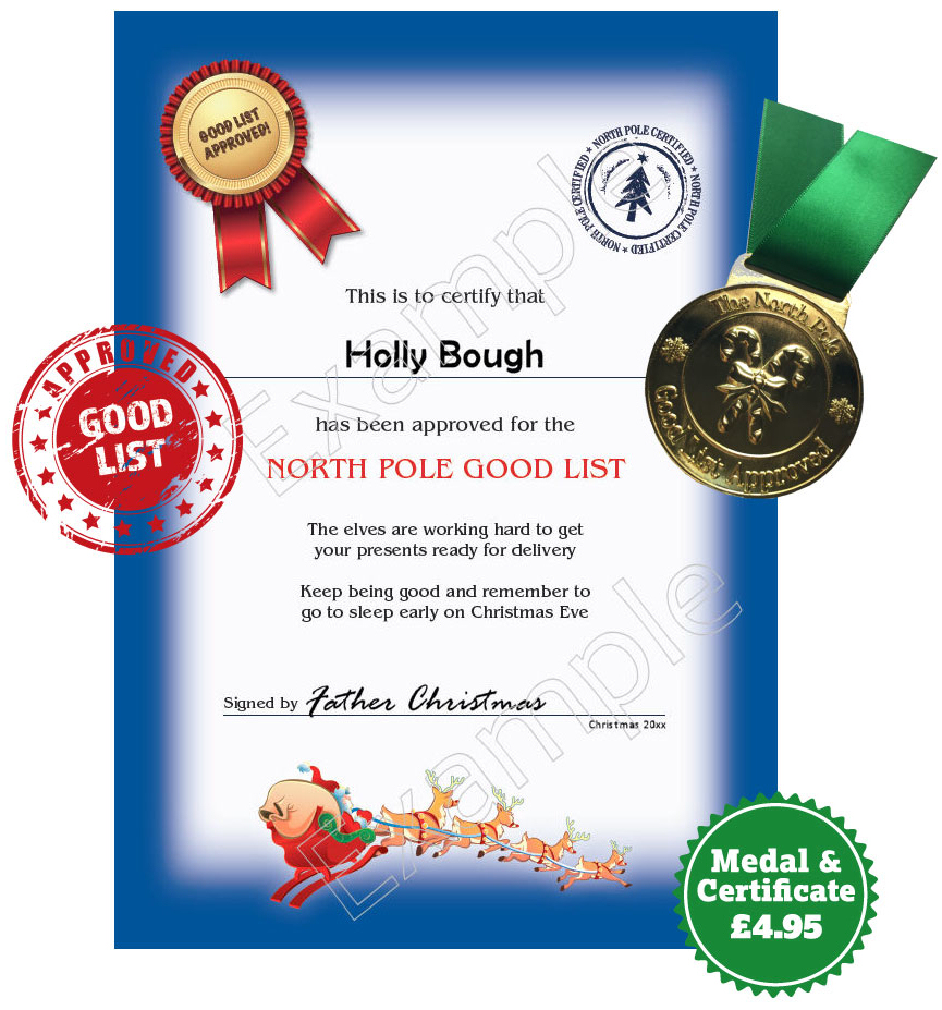 Certificate and Medal for Santa's Good List